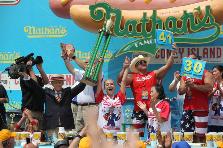 Miki Sudo celebrates winning this year'sNathan's Famous Fourth of July International Hot Dog-Eating Contest, in the wom