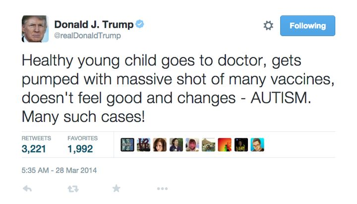 <p>President Trump and his tweet on the non-existent vaccine-autism link. </p>