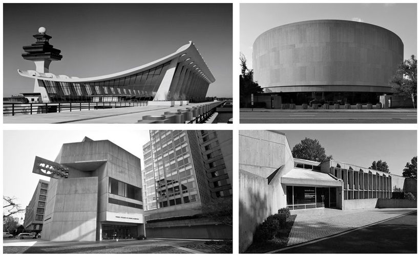 Top: Dulles Airport, Hirshhorn Museum. Bottom: Third Church of Christ, Scientist, American Press Institute.