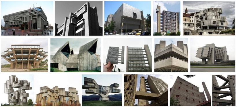 "Google image search results for ""Brutalist Architecture."" Upper left: Boston City Hall, Rudolph Building at Yale, Whitney Mus"