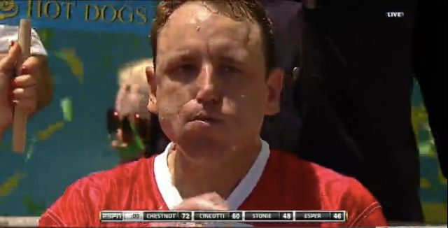 Hot dog eating champion Joey Jaws Chestnut set a new record at this years contest at New Yorks Coney Island
