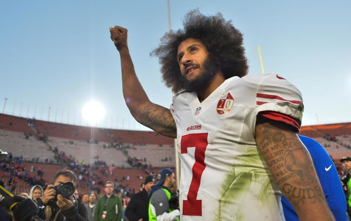 Colin Kaepernick after a win against the Los Angeles Rams.