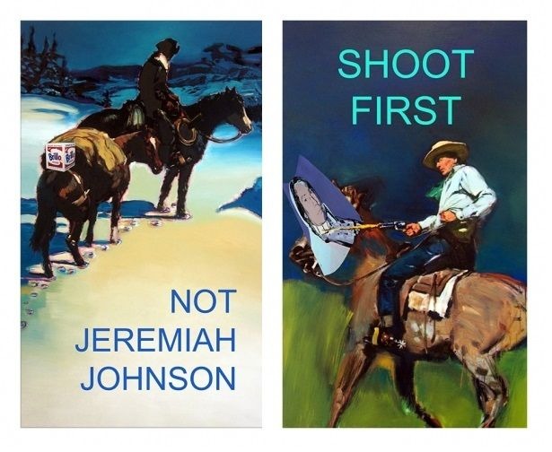Stephen Verona: After Richard Prince: Not Jeremiah Johnson and Shoot First, 2014, unique digital pigment print on canvas