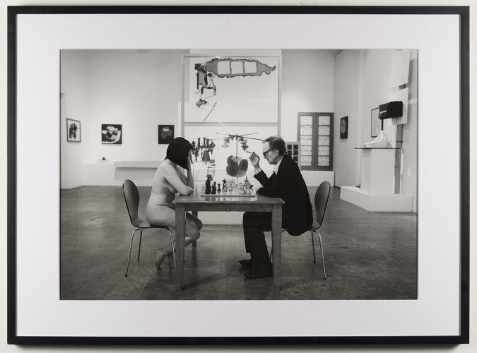 John Colao: After Julian Wasser: Julian Wasser Playing Chess with a Nude at Robert Berman Gallery, 2016. Archival pigment pri