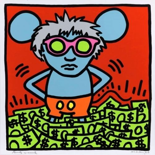 Keith Haring: Andy Mouse I, 1986, Silkscreen, Edition of 30. Signed by both Keith Haring and Andy Warhol