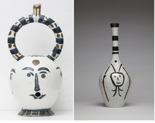 Guy Overfelt: Bouteille Gravee Bong (After  Picasso); Aztec Bong with Four Faces (After Picasso), 2015-17, Glazed and engrave