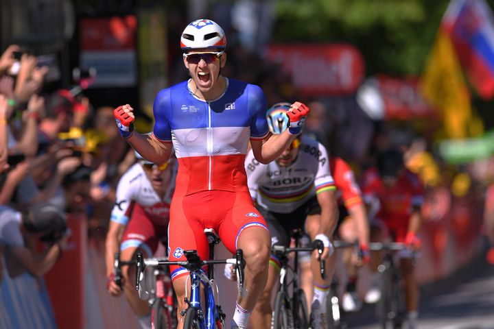 Sagan, who won the third stage of the Tour de France on Monday, is seen behind Arnaud Demare, who won Tuesday's stage fo