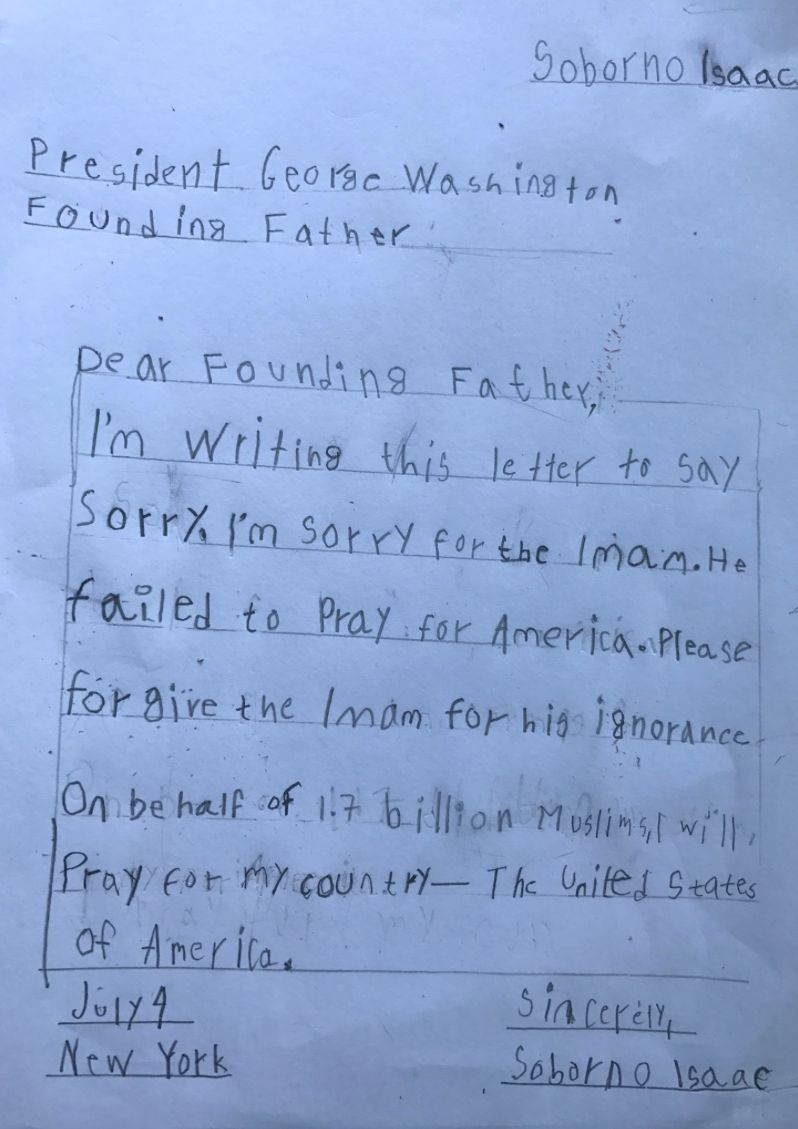 """Dad, I want to write a letter to George Washington."" ""Why?"" This time, the author of this article very serious in the conver"