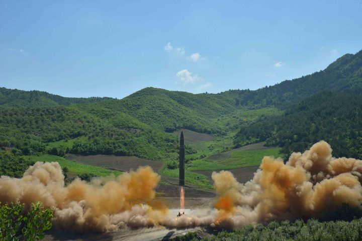 The intercontinental ballistic missile fired Monday, the Hwasong-14, seen during its test launch in this undated photo released by North Korea's Korean Central News Agency.