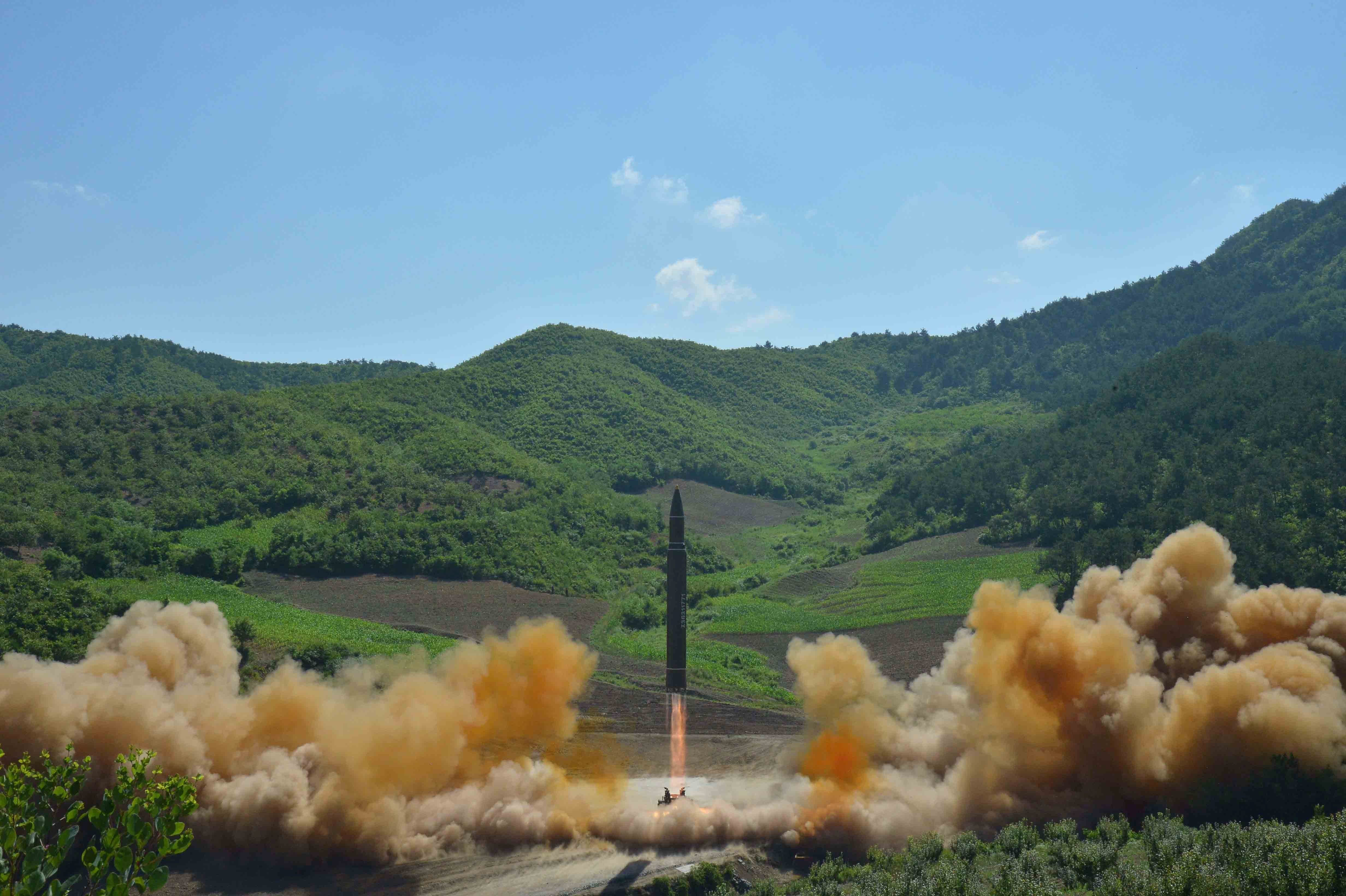 The intercontinental ballistic missile Hwasong-14 is seen during its test launch in this undated photo released by North Korea's Korean Central News Agency (KCNA) in Pyongyang, July, 4 2017. KCNA/via REUTERS ATTENTION EDITORS - THIS IMAGE WAS PROVIDED BY A THIRD PARTY. REUTERS IS UNABLE TO INDEPENDENTLY VERIFY THIS IMAGE. NO THIRD PARTY SALES. SOUTH KOREA OUT.     TPX IMAGES OF THE DAY