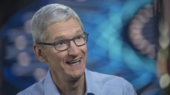 Tim Cook, chief executive officer of Apple Inc., speaks during a Bloomberg Technology television interview at the Apple Worldwide Developers Conference (WWDC) in San Jose, California, U.S., on Monday, June 5, 2017. Cook said the company has helped U.K. officials investigate terror attacks, while reiterating his dismay over U.S. plans to quit the Paris agreement on climate change. Photographer: David Paul Morris/Bloomberg via Getty Images
