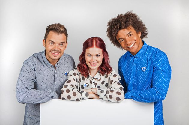 Current 'Blue Peter' presenters, Barney Harwood, Lindsey Russell, Radzi
