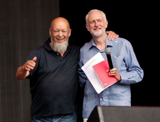 Glastonbury organiser Michael Eavis and Jeremy Corbyn on