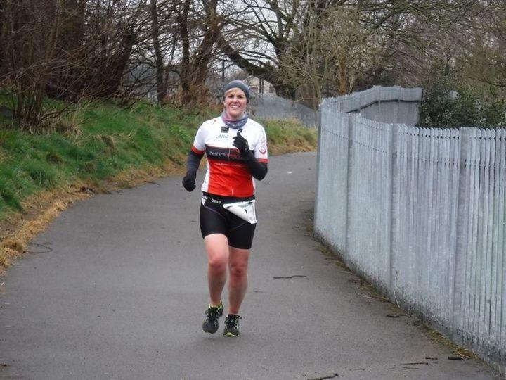 Marita Moore doing a triathlon.