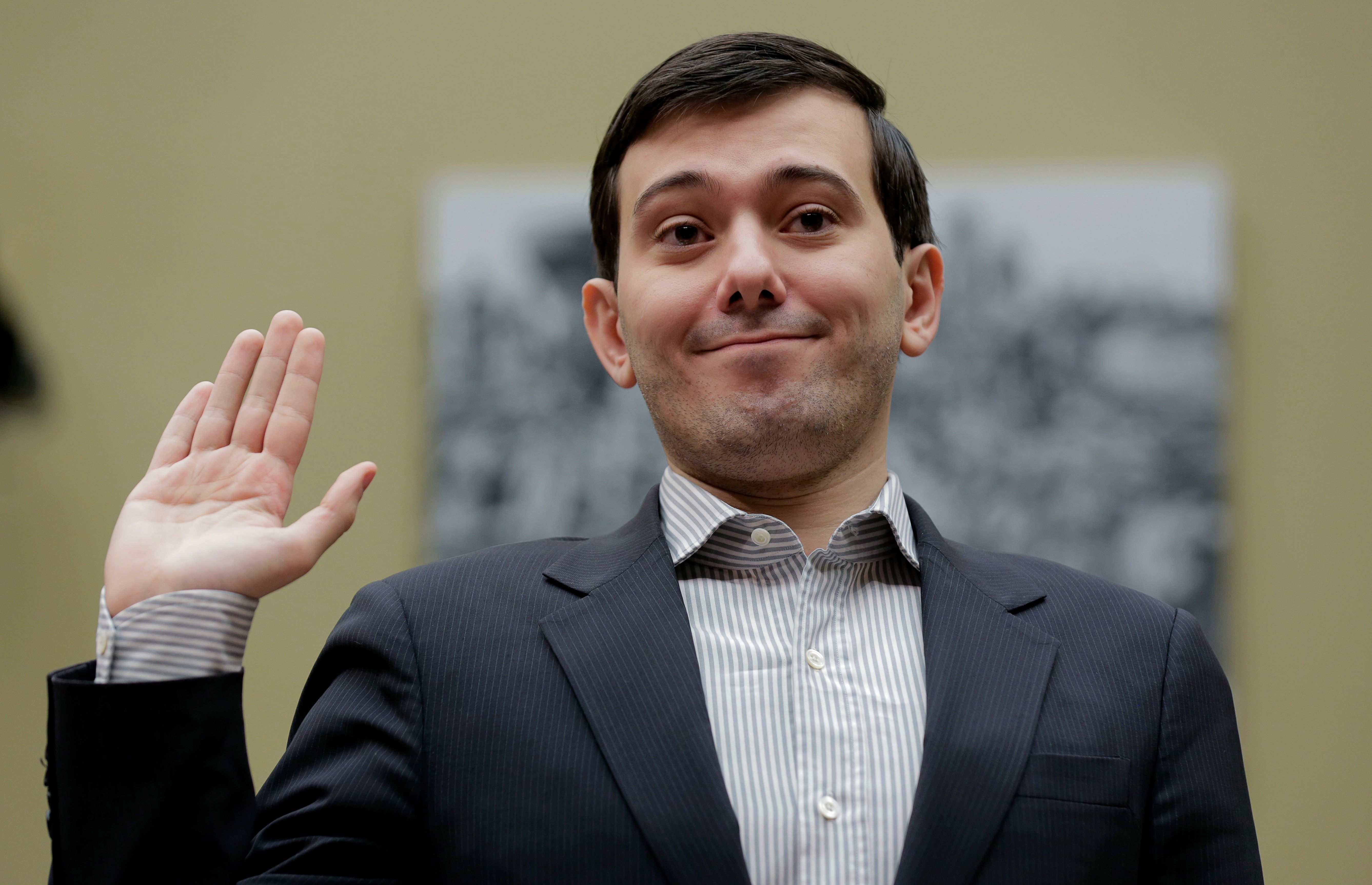 "Martin Shkreli, former CEO of Turing Pharmaceuticals LLC, is sworn in to testify at a House Oversight and Government Reform hearing on ""Developments in the Prescription Drug Market Oversight"" on Capitol Hill in Washington February 4, 2016. Shkreli invoked his Fifth Amendment right against self-incrimination and declined to answer questions on Thursday from U.S. lawmakers interested in why the company raised the price of a lifesaving medicine by 5,000 percent.  REUTERS/Joshua Roberts TPX IMAGES OF THE DAY"