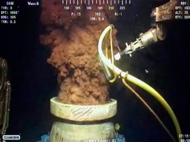 Oil gushes from BP's ruptured well in the Gulf of Mexico, in this still image captured from a BP live video feed on July 12,