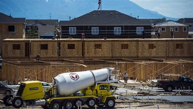 Homes under construction in Vineyard, Utah, where the population grew from 139 in 2010 to almost 4,000 last year. Most small