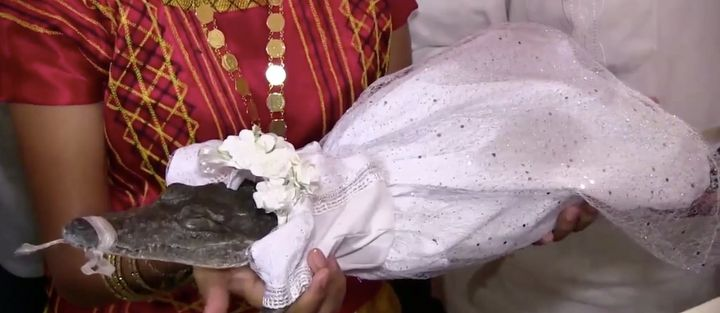 "This crocodile ""married"" the mayor of San Pedro Huamelula in southern Mexico."