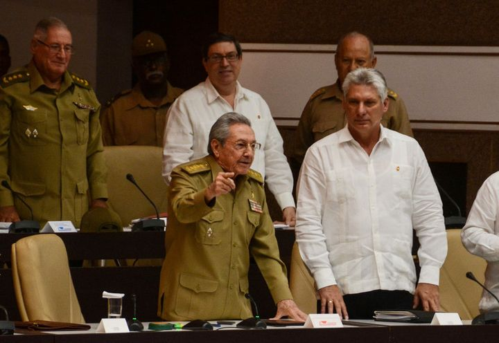 Cuba's president, Raul Castro (left), was quick to condemn the new US policy.