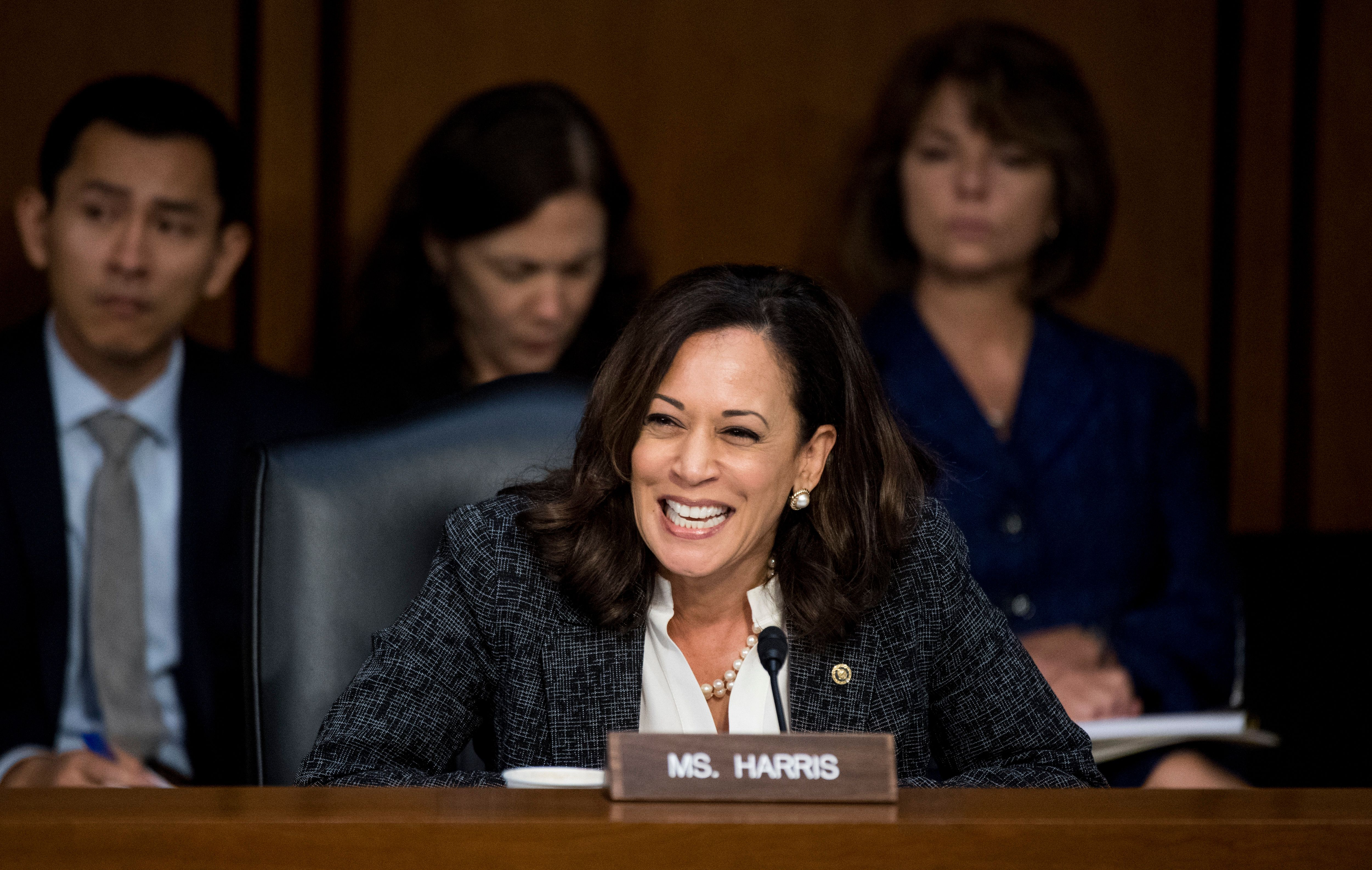 Senator Kamala Harris questions former FBI Director James Comey at the Senate Select Intelligence Committee hearing