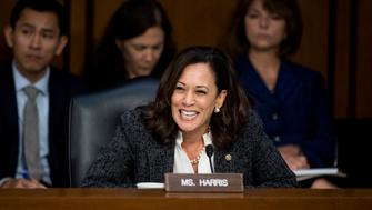 UNITED STATES - JUNE 8: Sen. Kamala Harris, D-Calif., questions former FBI Director James Comey during the Senate Select Intelligence Committee hearing on 'Russian Federation Efforts to Interfere in the 2016 U.S. Elections' on Thursday, June 8, 2017. (Photo By Bill Clark/CQ Roll Call)
