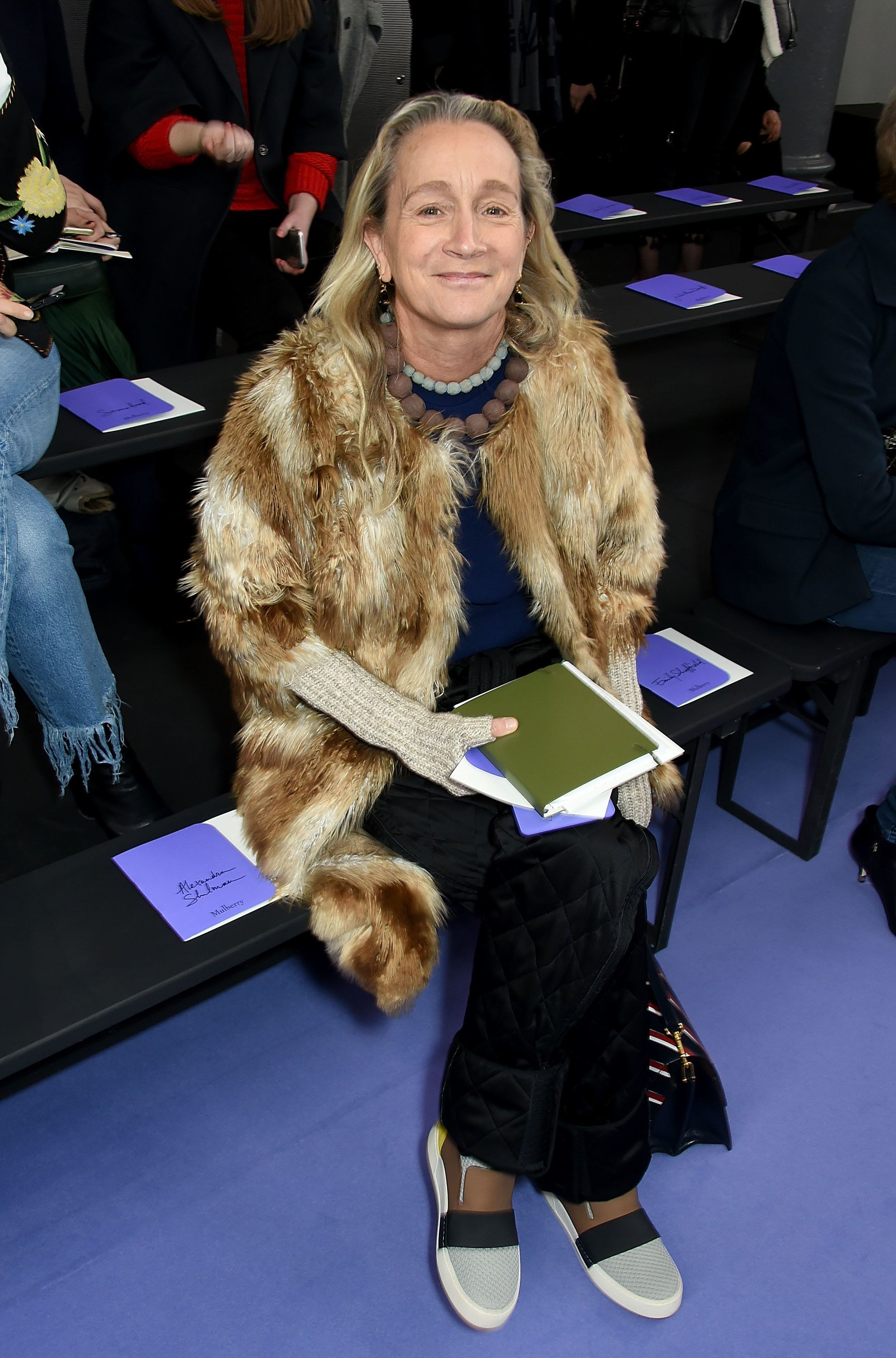 Lucinda Chambers attends the Mulberry Winter '17 LFW show at The Old Billingsgate on Feb.19 in London, England.