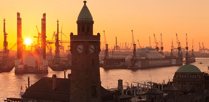The port of Hamburg, Germany: G20 leaders meet to discuss policies to strengthen the global economic recovery.