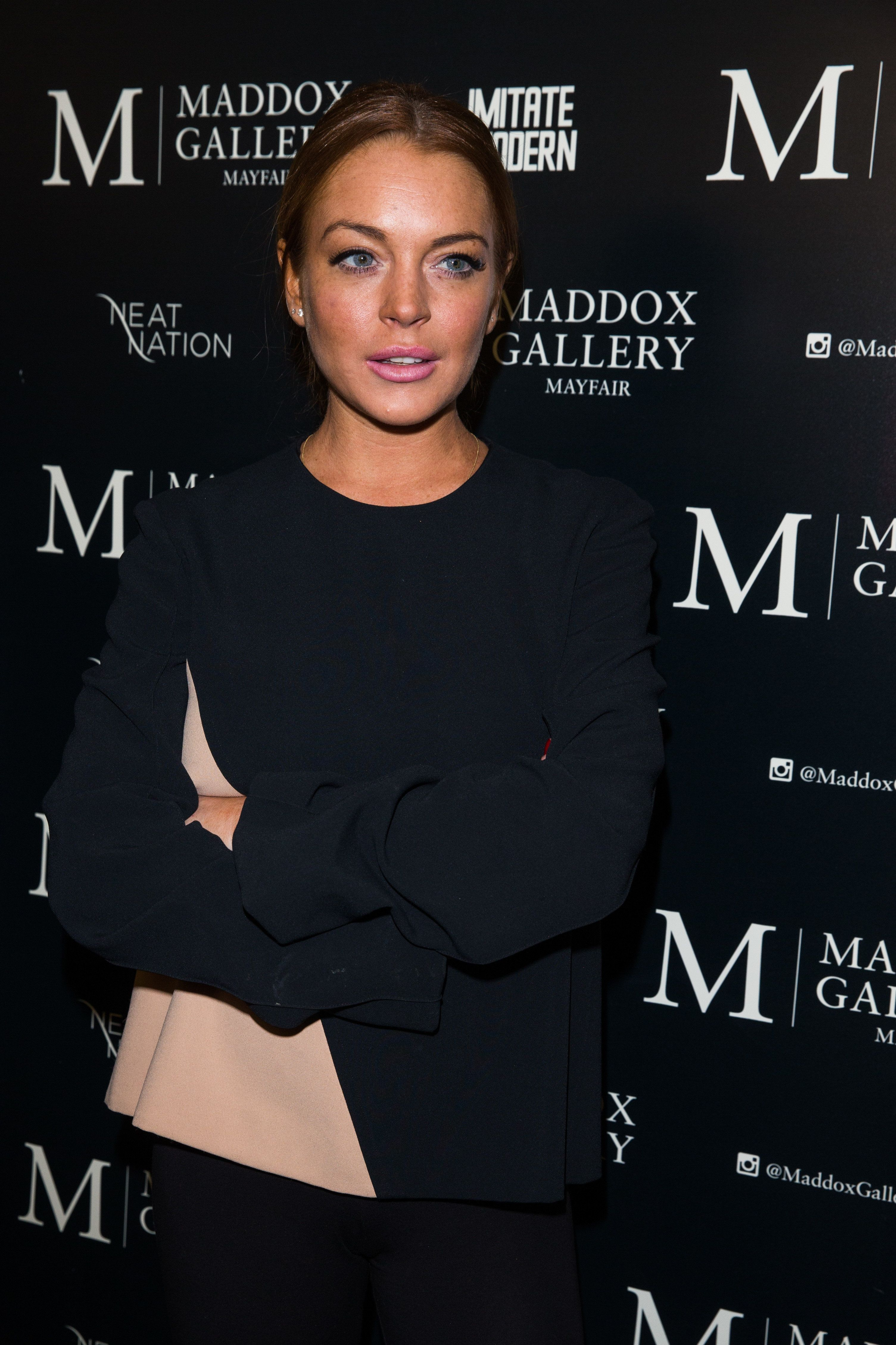 LONDON, ENGLAND - FEBRUARY 03:  Lindsay Lohan attends the private view of Tyler Shields: Decadence at Maddox Gallery on February 3, 2016 in London, England.  (Photo by Luca Teuchmann/Getty Images)
