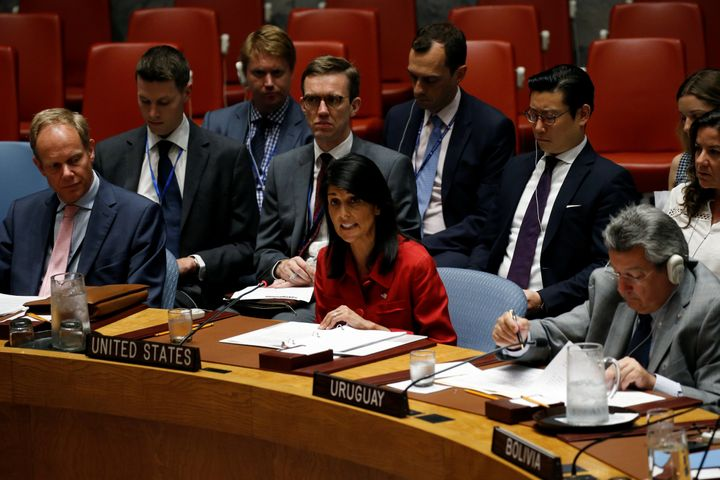 U.S. Ambassador to the United Nations Nikki Haley addresses the U.N. Security Council as it meets to discuss the recent balli