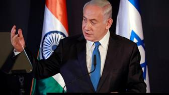 Israeli Prime Minister Benjamin Netanyahu speaks as he delivers joint statements with Indian Prime Minister Narendra Modi during an exchange of co-operation agreements ceremony in Jerusalem July 5, 2017. REUTERS/Amir Cohen