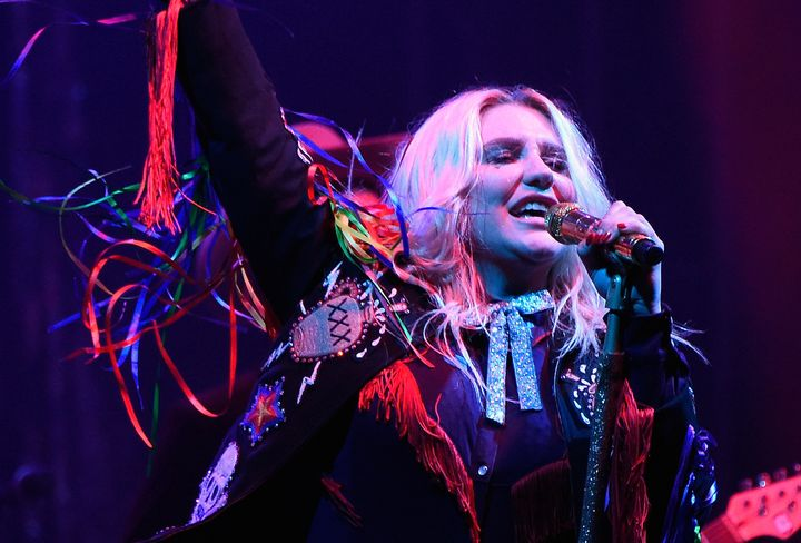 Kesha performing during the 2017 Firefly Music Festival.