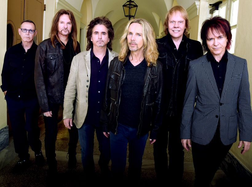 """Styx left to right: Chuck Panozzo, Ricky Phillips, Todd Sucherman, Tommy Shaw, James """"JY"""" Young, Lawrence Gowan"""