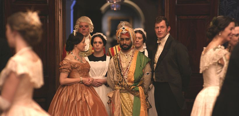 Satinder Sartaaj as The Black Prince, flanked by Amanda Root as Queen Victoria, Jason Flemyng as Doctor John Login, and Dulee