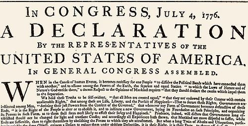 Some Twitter users take offense to Declaration of Independence