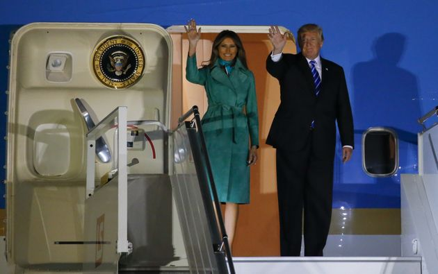 Donald Trump and First Lady Melania Trump arrive at Warsaw military airport in Warsaw, Poland July