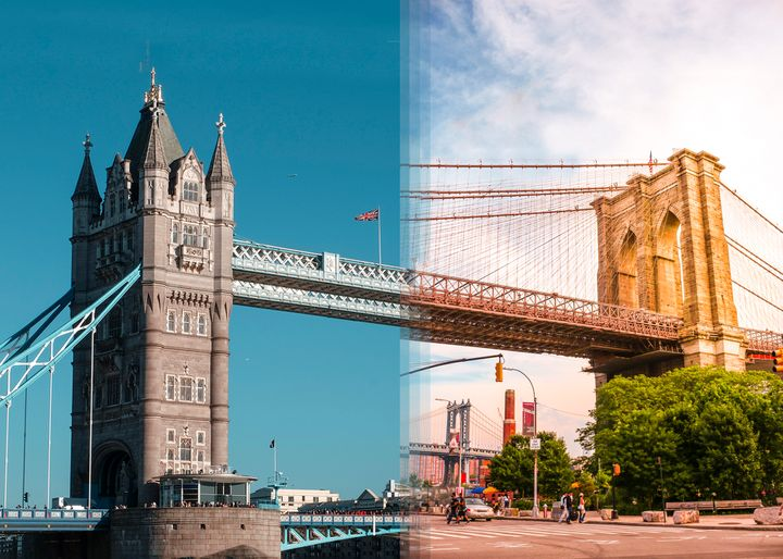 <p><strong>Tower Bridge in London vs Brooklyn Bridge in New York</strong></p>