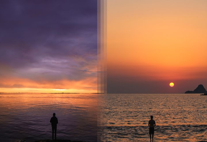<p><strong>Sunrise on Vancouver Island in Canada vs Sunrise on Poros Island in Greece</strong></p>