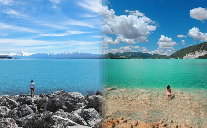 <p><strong>Lake Tekapo in New Zealand vs Lake Wolfgang in Austria</strong></p>