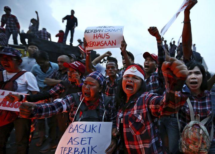 Supporters of Jakarta's former Governor Basuki 'Ahok' Tjahaja Purnama.