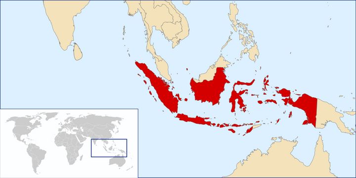 "Indonesia is spread out across an archipelago <a href=""https://commons.wikimedia.org/wiki/File:LocationIndonesia.svg"">Wikimed"