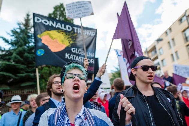 Demonstrators protest against the visit of Trump in Warsaw, on July 6,