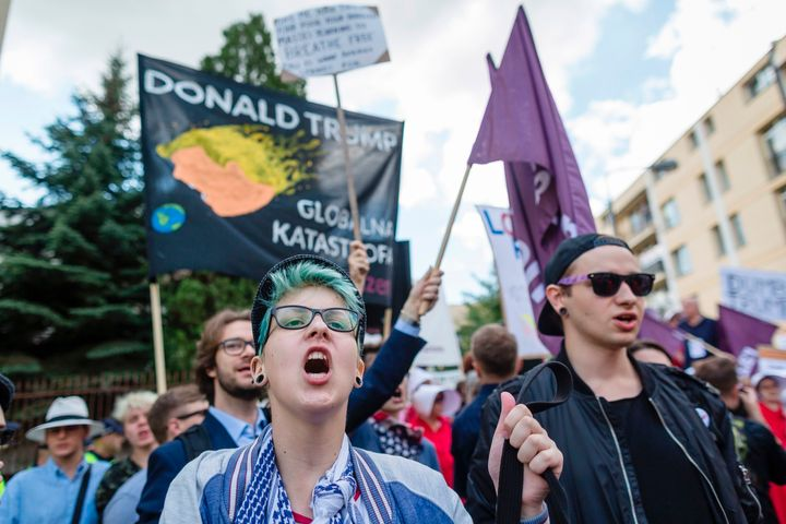 Demonstrators protest against the visit of Trump in Warsaw, on July 6, 2017.