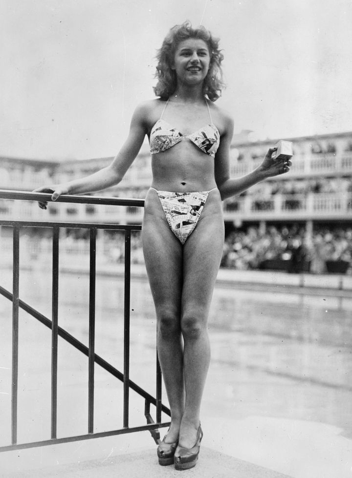 Black and white and read all over:The new 'bikini' swimming costume caused a sensation at a 1946 beauty contest at the Molitor swimming pool in Paris.