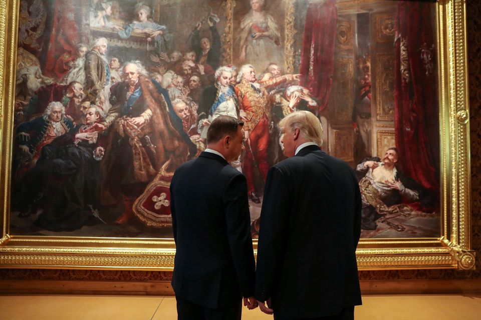 President Donald Trump and Polish President Andrzej Duda talk in Warsaw, Poland, on July 6, 2017.