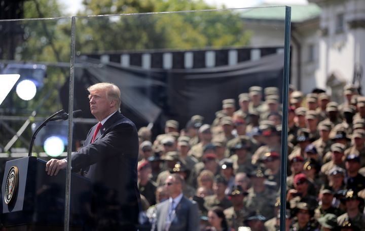 U.S. President Donald Trump gives a public speech at Krasinski Square in Warsaw, Poland July 6, 2017.