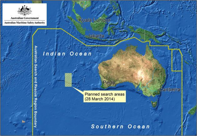 This satellite image by the AMSA (Australian Maritime Safety Authority) shows a map of the search area...