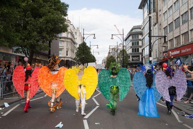 Participants take part in London's Pride parade last