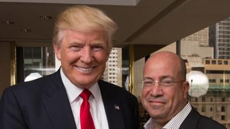 Portrait of American real estate developer and President-elect Donald Trump (left) and CNN Worldwide president Jeff Zucker as they pose together in Trump office in Trump Tower, New York, New York, November 21, 2016. The photo shoot, for a CNN book cover, was Trump's first formal portrait after winning the presidential election. (Photo by David Hume Kennerly/Getty Images)