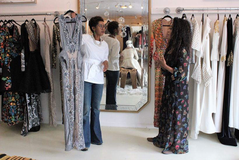 Holding the dress that Michelle Williams wore to the Wearable Art Gala 2017. Esé Azénabor telling me about the inspiration be