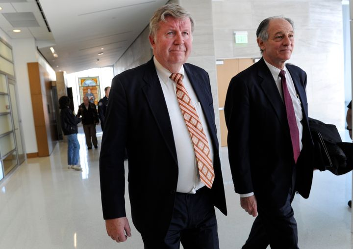 Douglas Bruce leaving a courtroom in 2012 after ahearing on tax evasion charges.